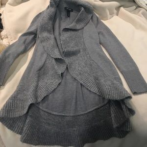 NWOT White House Black Market Grey Ruffle Cardigan